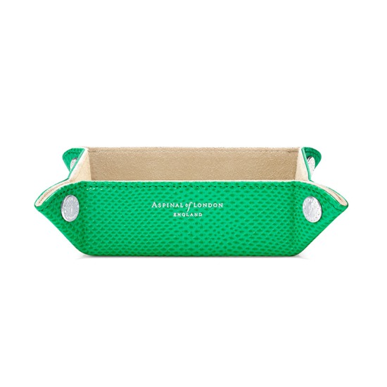 Mini Tidy Tray in Grass Green Lizard & Cream Suede from Aspinal of London