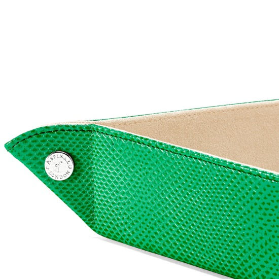Large Tidy Tray in Grass Green Lizard & Cream Suede from Aspinal of London
