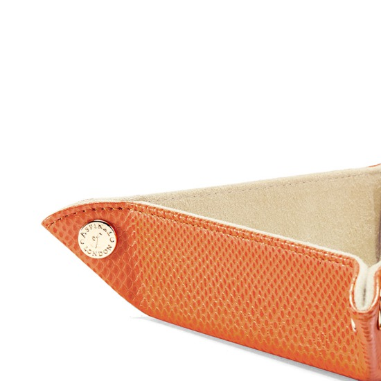 Mini Tidy Tray in Orange Lizard & Cream Suede from Aspinal of London