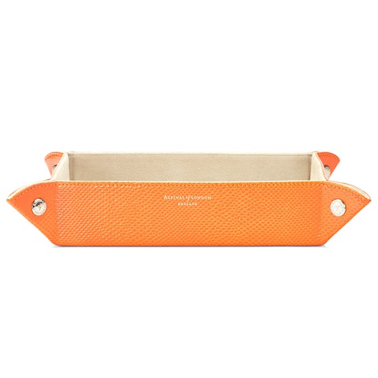 Large Tidy Tray in Orange Lizard & Cream Suede from Aspinal of London