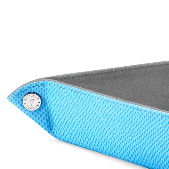 Medium Tidy Tray in Aquamarine Lizard & Silver Suede from Aspinal of London