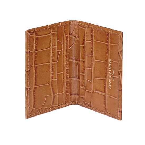 Double Fold Credit Card Case in Deep Shine Vintage Tan Croc from Aspinal of London