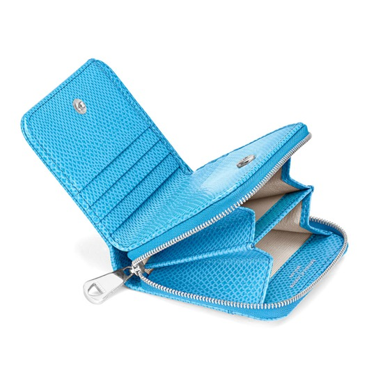Mini Continental Zipped Coin Purse in Aquamarine Lizard from Aspinal of London