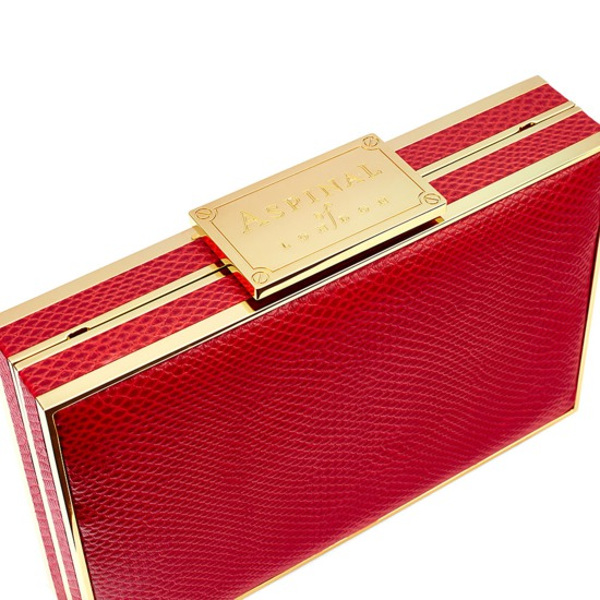 Scarlett Box Clutch in Berry Lizard from Aspinal of London