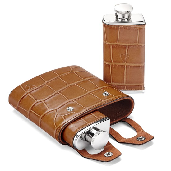 Double 6oz Leather Hip Flask in Deep Shine Vintage Tan Croc from Aspinal of London