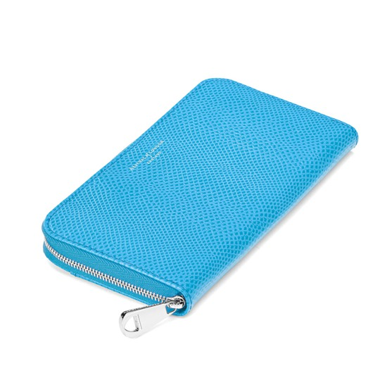 Continental Clutch Zip Wallet in Aquamarine Lizard from Aspinal of London