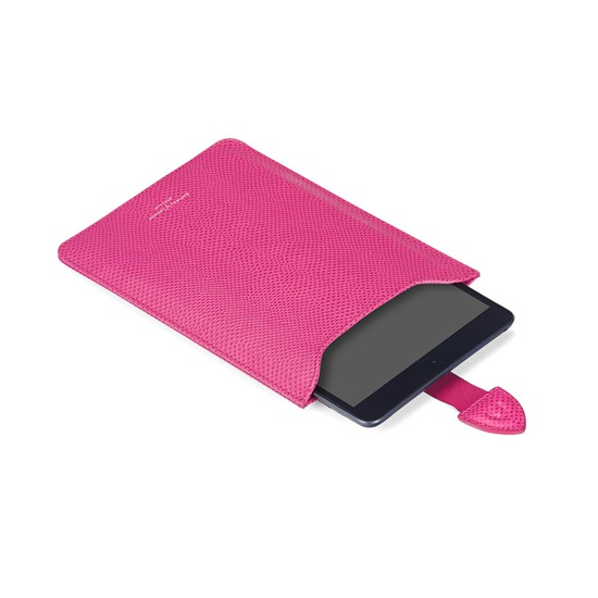 iPad Mini Sleeve in Raspberry Lizard & Pale Blue Suede from Aspinal of London