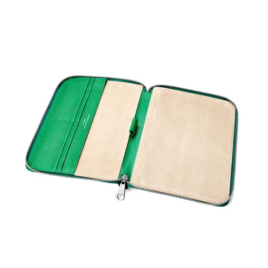 A5 Zipped Padfolio in Grass Green Lizard & Cream Suede from Aspinal of London