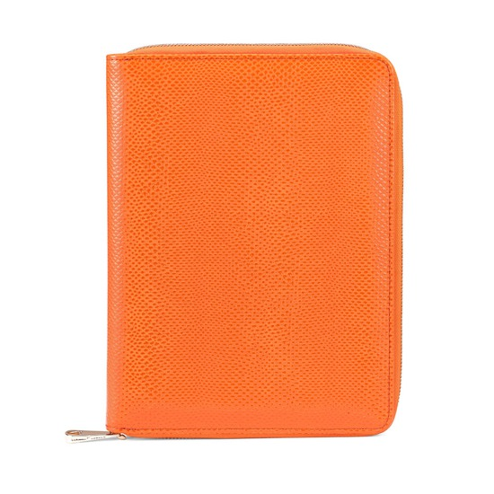 A5 Zipped Padfolio in Orange Lizard & Cream Suede from Aspinal of London
