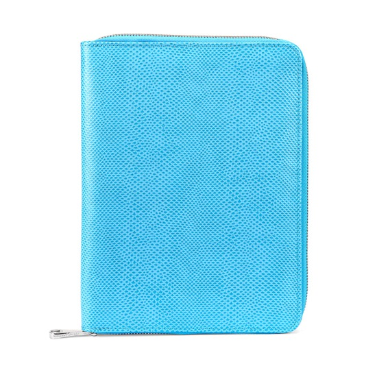 A5 Zipped Padfolio in Aquamarine Lizard & Silver Suede from Aspinal of London