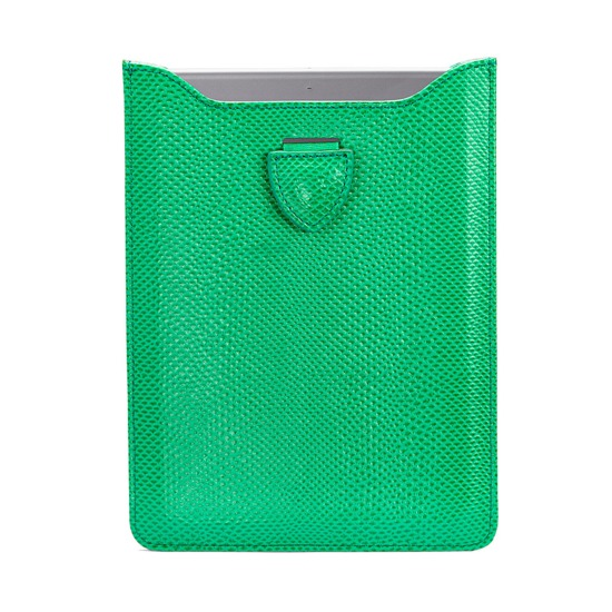 Leather iPad Air Sleeve in Grass Green Lizard & Cream Suede from Aspinal of London
