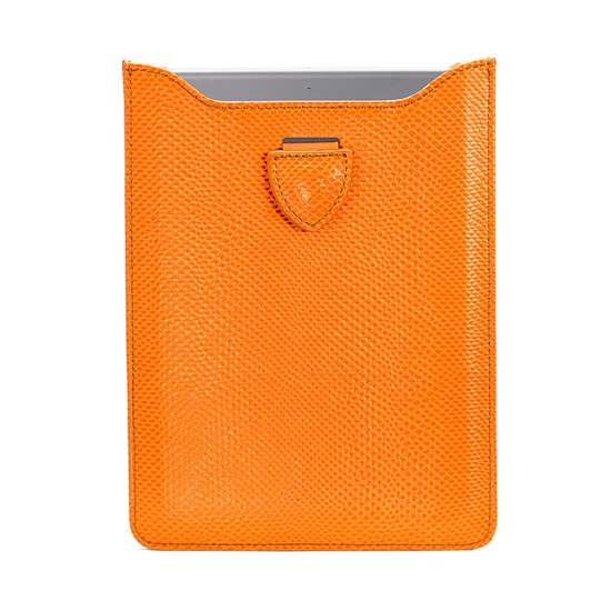 Leather iPad Air Sleeve in Orange Lizard & Cream Suede from Aspinal of London