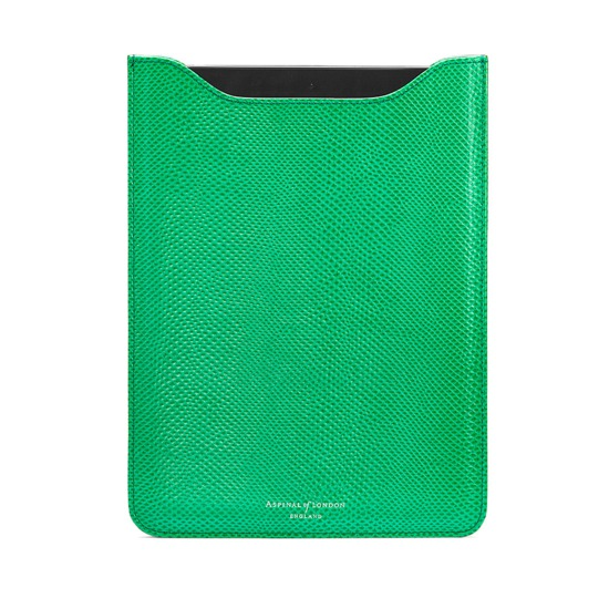 iPad Mini Sleeve in Grass Green Lizard & Cream Suede from Aspinal of London