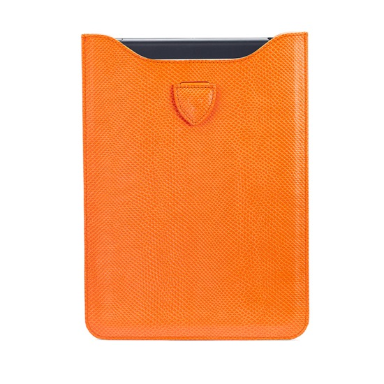 iPad Mini Sleeve in Orange Lizard & Cream Suede from Aspinal of London