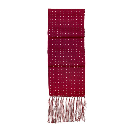 Men's Polka Dot Silk Scarf in Burgundy from Aspinal of London