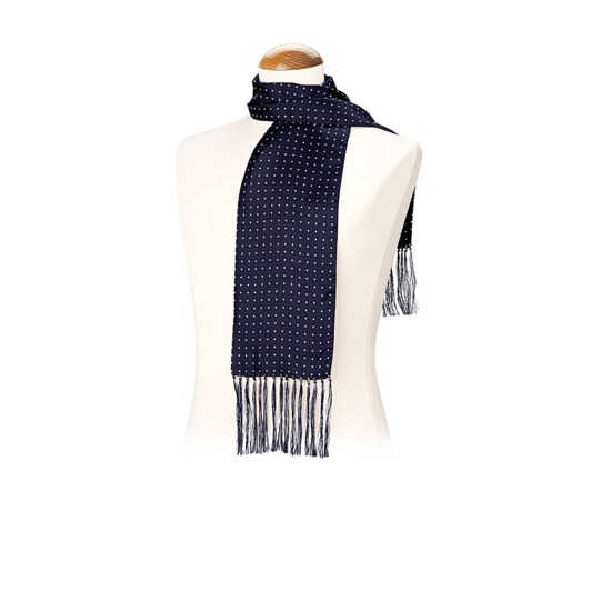 Men's Polka Dot Silk Scarf in Navy from Aspinal of London