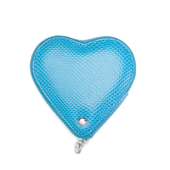 Heart Coin Purse in Aquamarine Lizard from Aspinal of London