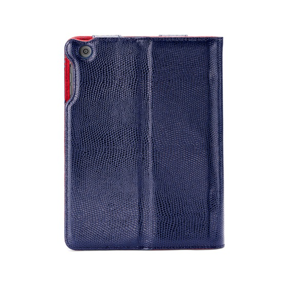 iPad Air Stand Up Case in Midnight Blue Lizard & Red Suede from Aspinal of London