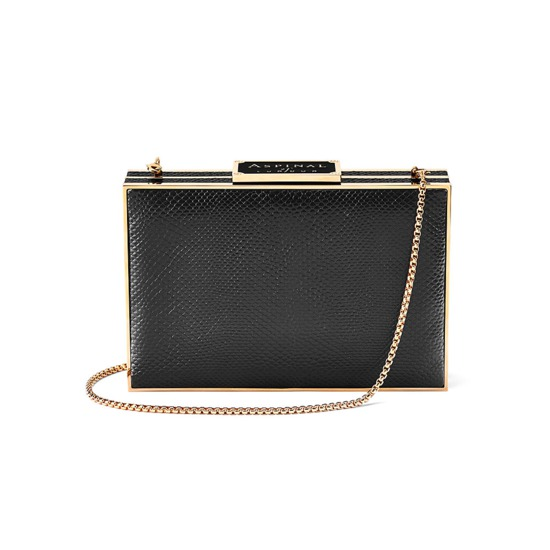 Scarlett Box Clutch in Jet Black Lizard from Aspinal of London
