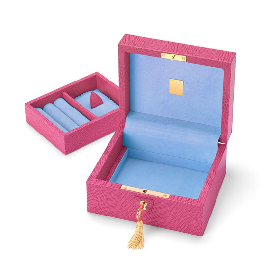 Bijou Jewellery Box in Raspberry Lizard & Pale Blue Suede from Aspinal of London