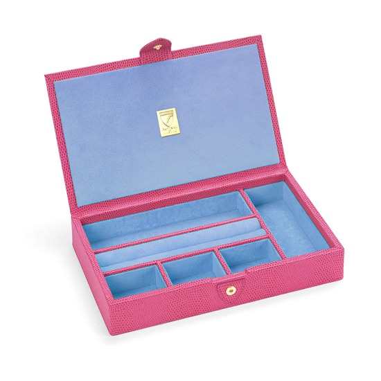 Paris Jewellery Box in Raspberry Lizard & Pale Blue Suede from Aspinal of London