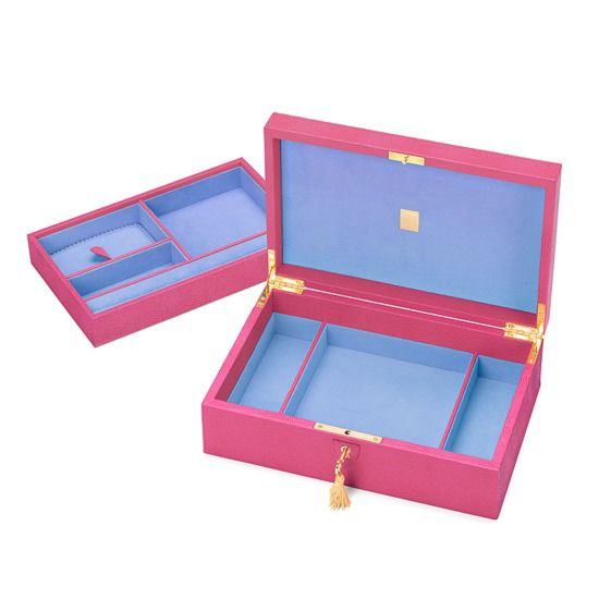 Savoy Jewellery Case in Raspberry Lizard & Pale Blue Suede from Aspinal of London
