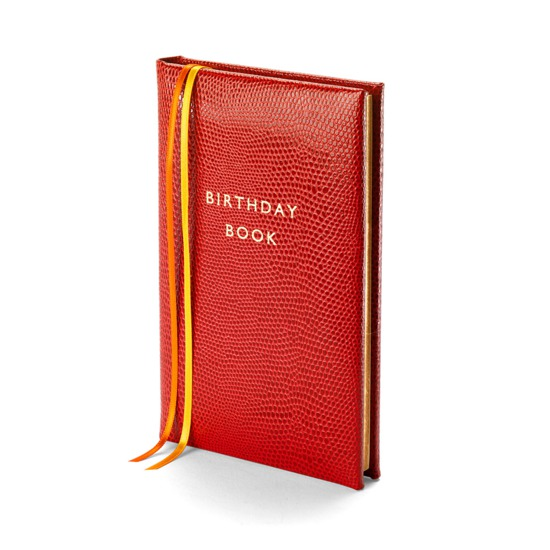 Birthday Book in Berry Lizard from Aspinal of London