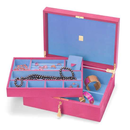 Grand Luxe Jewellery Case in Raspberry Lizard & Pale Blue Suede from Aspinal of London