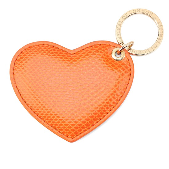 Heart Key Ring in Orange Lizard from Aspinal of London