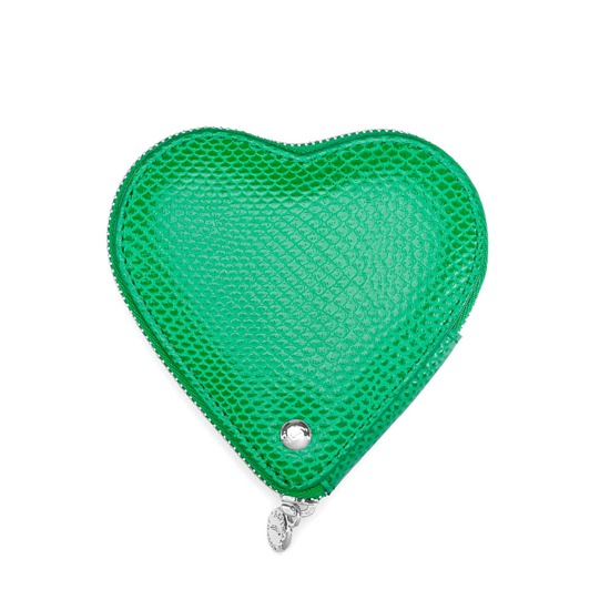 Heart Coin Purse in Grass Green Lizard from Aspinal of London