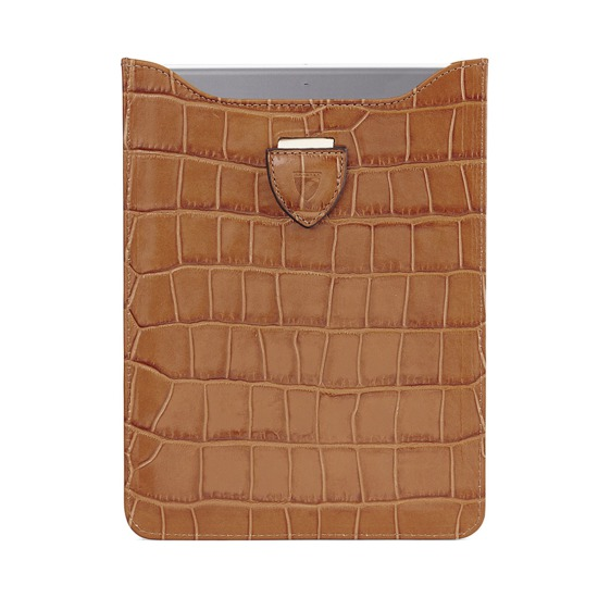 Leather iPad Air Sleeve in Deep Shine Vintage Tan Croc & Cappuccino Suede from Aspinal of London