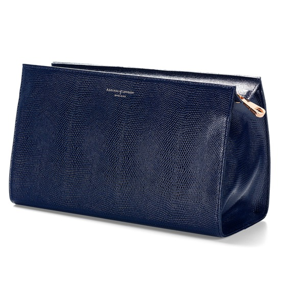 Large Cosmetic Case in Midnight Blue Lizard from Aspinal of London