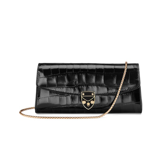 Aspinal x Beulah Blue Heart Clutch in Deep Shine Black Croc from Aspinal of London