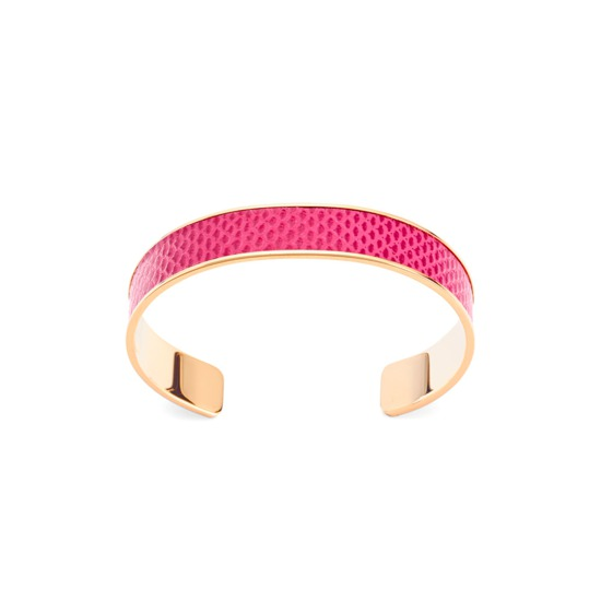 Cleopatra Skinny Cuff Bracelet in Raspberry Lizard from Aspinal of London