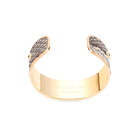Athena Cuff Bracelet in Natural Python from Aspinal of London