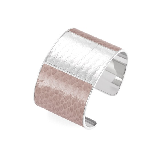 Minerva Cuff Bracelet in Nude & Silver Snake from Aspinal of London