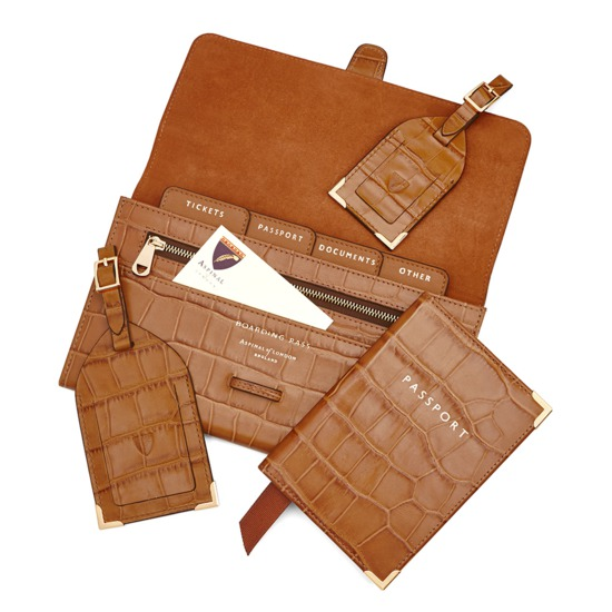 Classic Travel Collection in Deep Shine Vintage Tan Croc & Cappuccino Suede from Aspinal of London