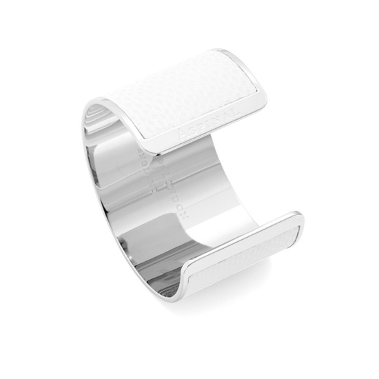 Silver Cleopatra Cuff Bracelet in Alabaster White Lizard from Aspinal of London