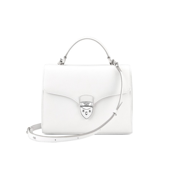 Mayfair Bag in Alabaster White Lizard from Aspinal of London