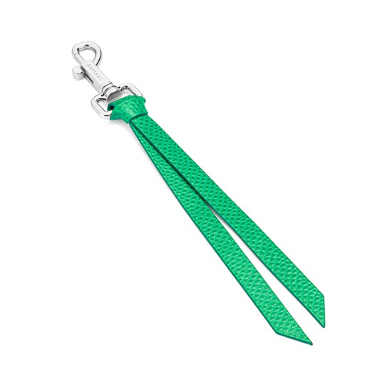 Small Personalisation Strap Key Ring in Grass Green Lizard from Aspinal of London