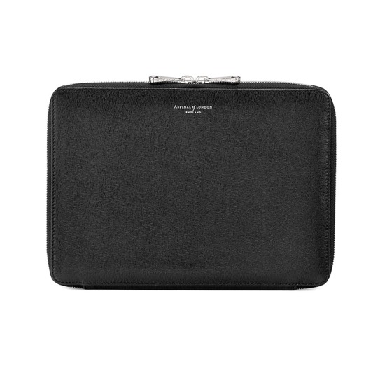 Continental Zipped iPad Air Case with Notebook in Black Saffiano from Aspinal of London