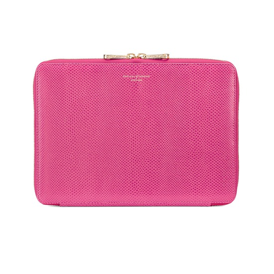 Continental Zipped iPad Air Case with Notebook in Raspberry Lizard from Aspinal of London