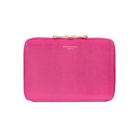Continental Zipped iPad Mini Case with Notebook in Raspberry Lizard from Aspinal of London