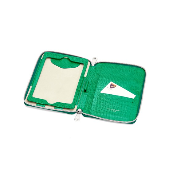 Continental Zipped iPad Mini Case with Notebook in Grass Green Lizard from Aspinal of London