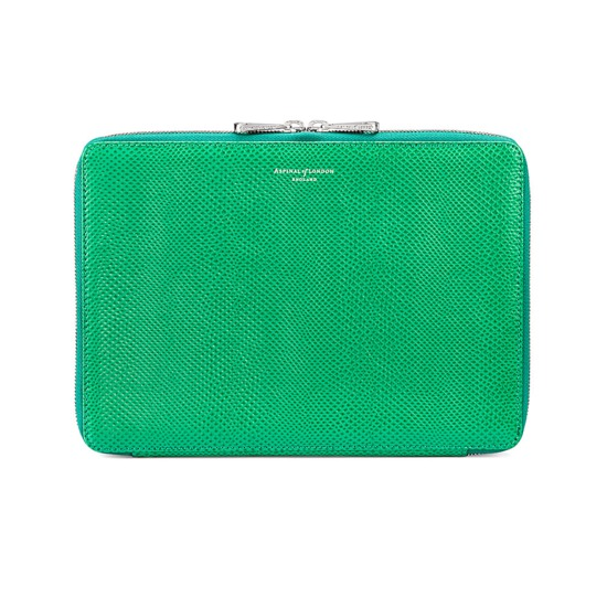 Continental Zipped iPad Air Case with Notebook in Grass Green Lizard from Aspinal of London