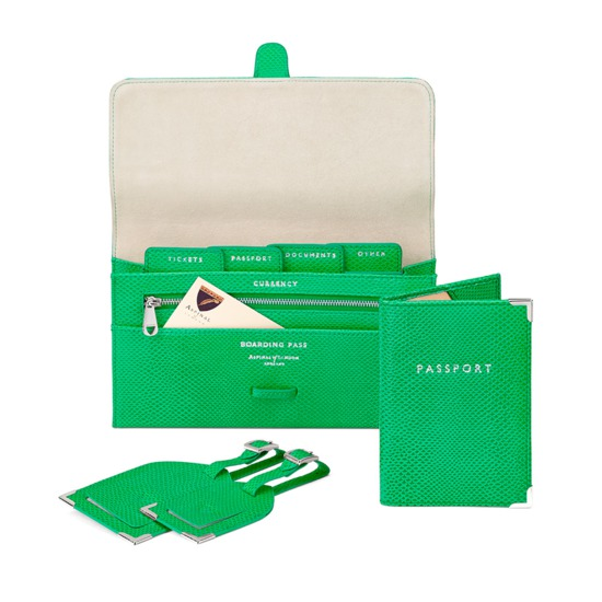 Classic Travel Collection in Grass Green Lizard & Cream Suede from Aspinal of London