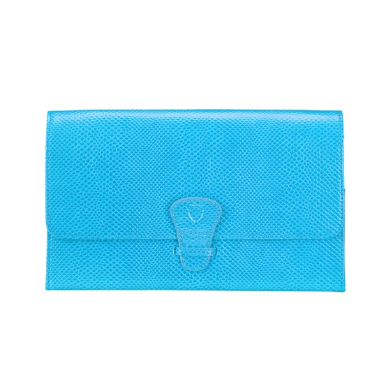 Classic Travel Collection in Aquamarine Lizard & Silver Suede from Aspinal of London
