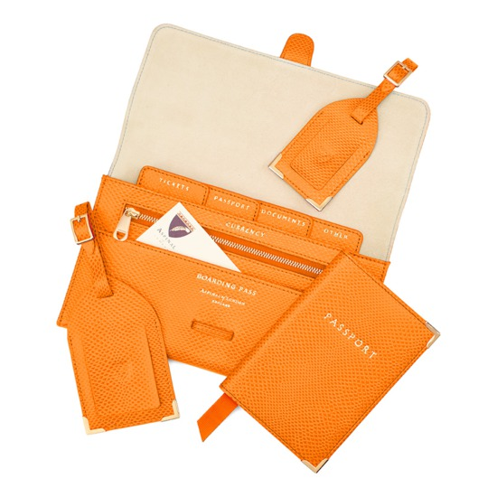 Classic Travel Collection in Orange Lizard & Cream Suede from Aspinal of London