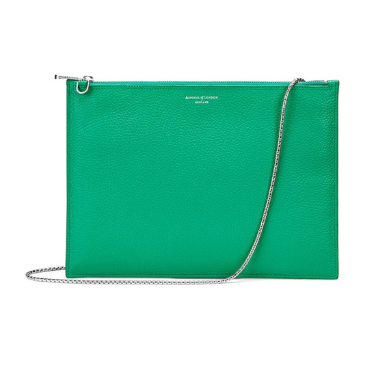 Soho Double Sided Clutch in Grass Green Pebble from Aspinal of London