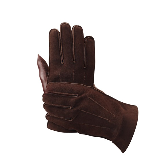 Shadow Men's Suede & Leather Gloves in Brown from Aspinal of London